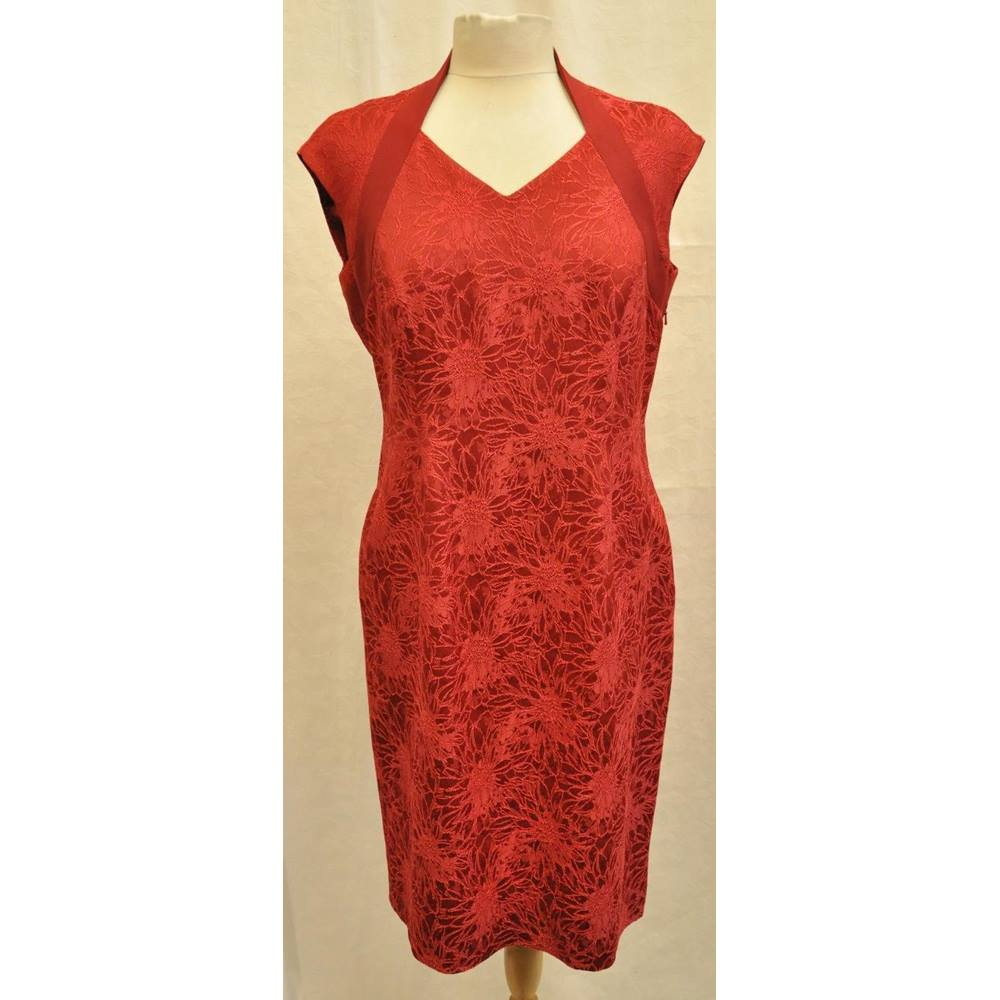 371c6d87a372 Oxfam Shop Leeds Stunning red evening dress by Jacques Vert Embroidered  floral pattern Polyester trim around the neck line and shoulders Zip down  the side ...