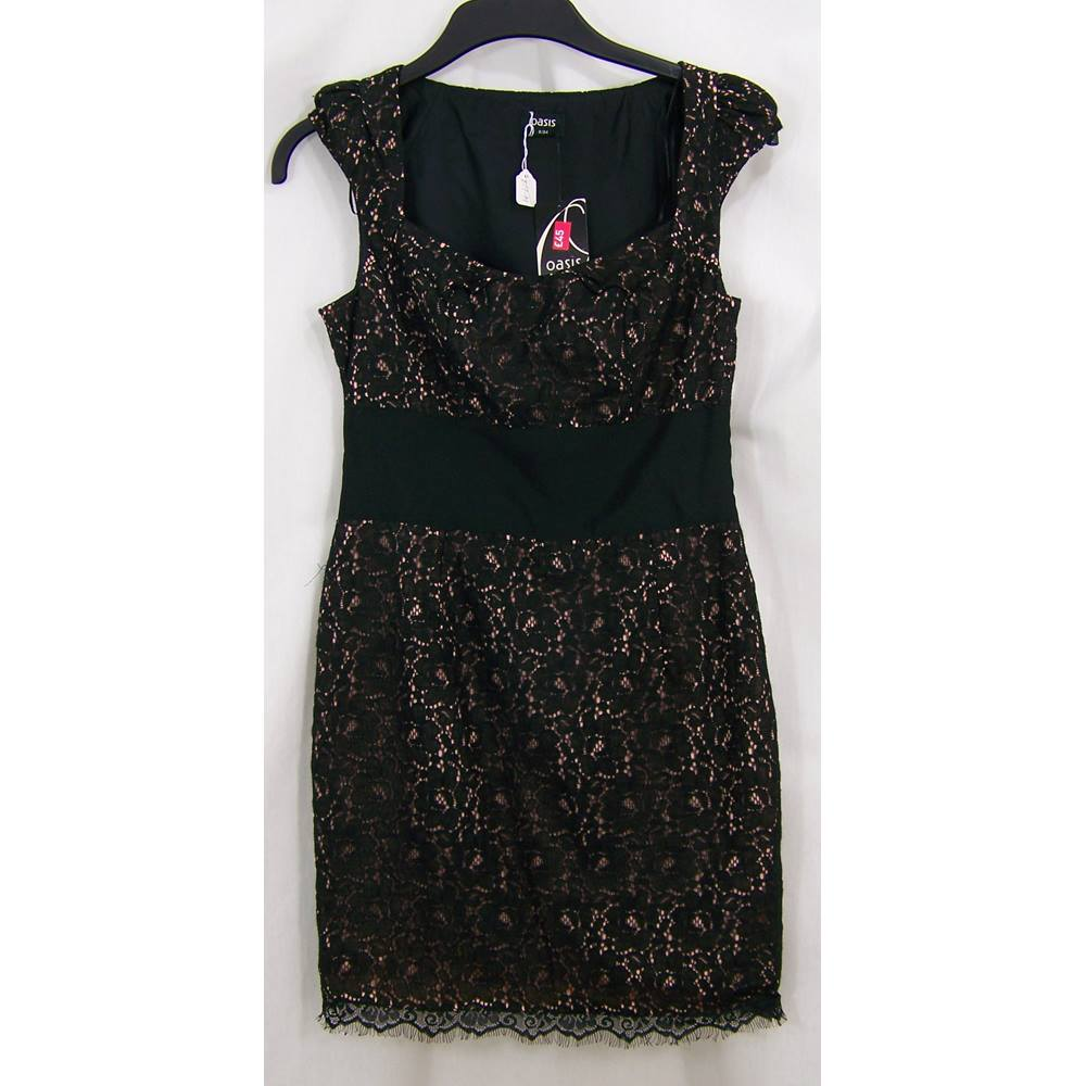 f46a04700a83 Oxfam Bookshop Lymington Oasis brand new with tags fully lined sheath dress  size 8, black lace over pink fabric. The fitted bodice has a square neck  with ...