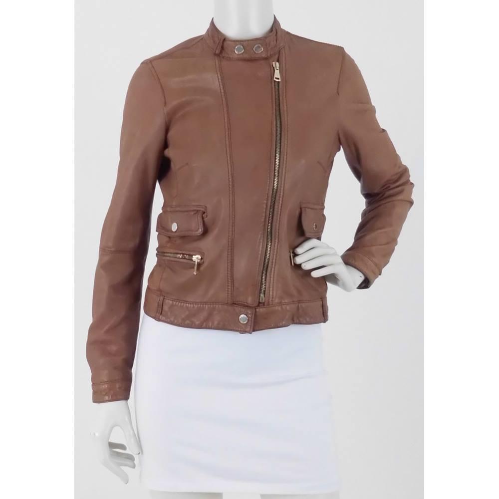 8f8facf5dd1 Massimo Dutti Size: S Camel 100% Leather Jacket   Oxfam GB   Oxfam's Online  Shop