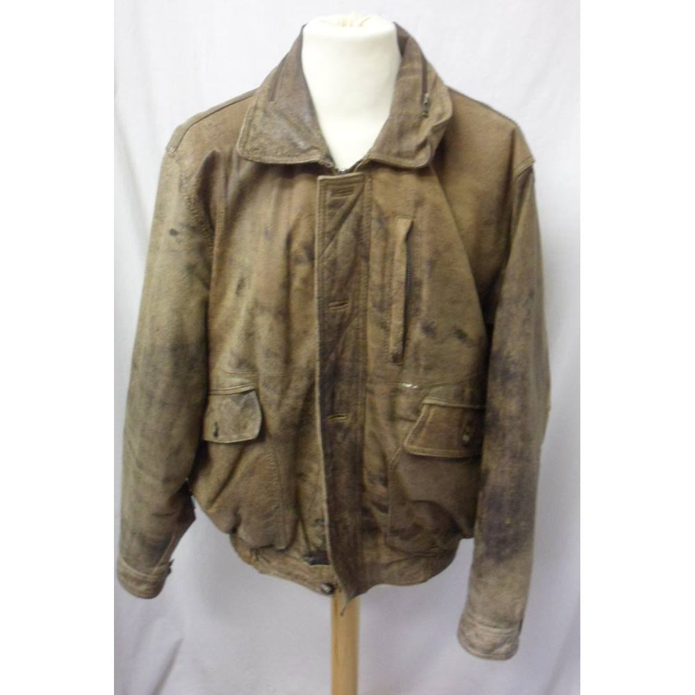 6f395fe70 Vintage ABLC-M - Size: M - Brown leather - Bomber jacket | Oxfam GB |  Oxfam's Online Shop