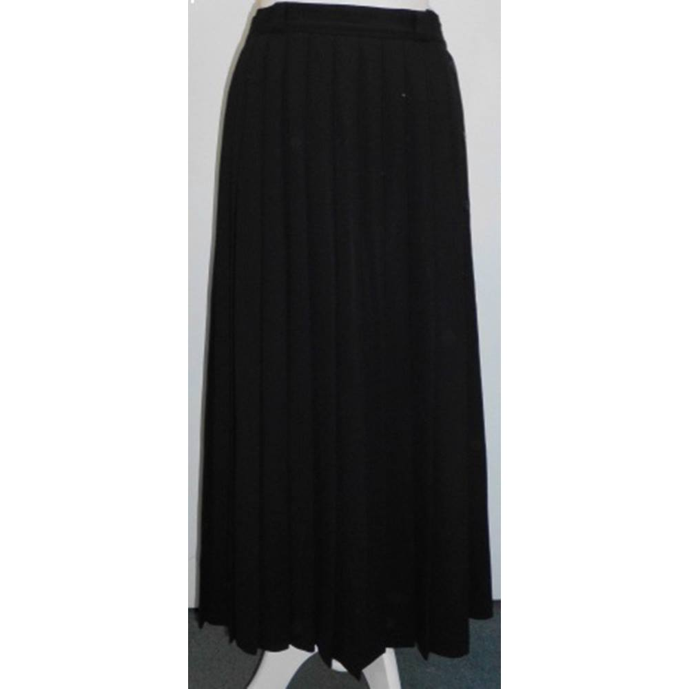 c20e6a0a13 Vintage Laura Ashley Black Wool Crepe Lined Pleated Midi Skirt Laura Ashley  - Size: S
