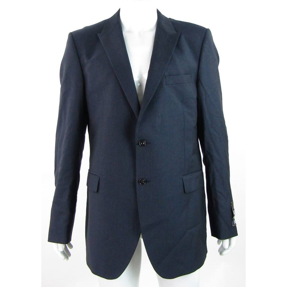"""Preview of the first image of BNWOT - M&S Alfred Brown - 44"""" X Long - Navy - Pure New Wool Single Breasted Suit Jacket."""