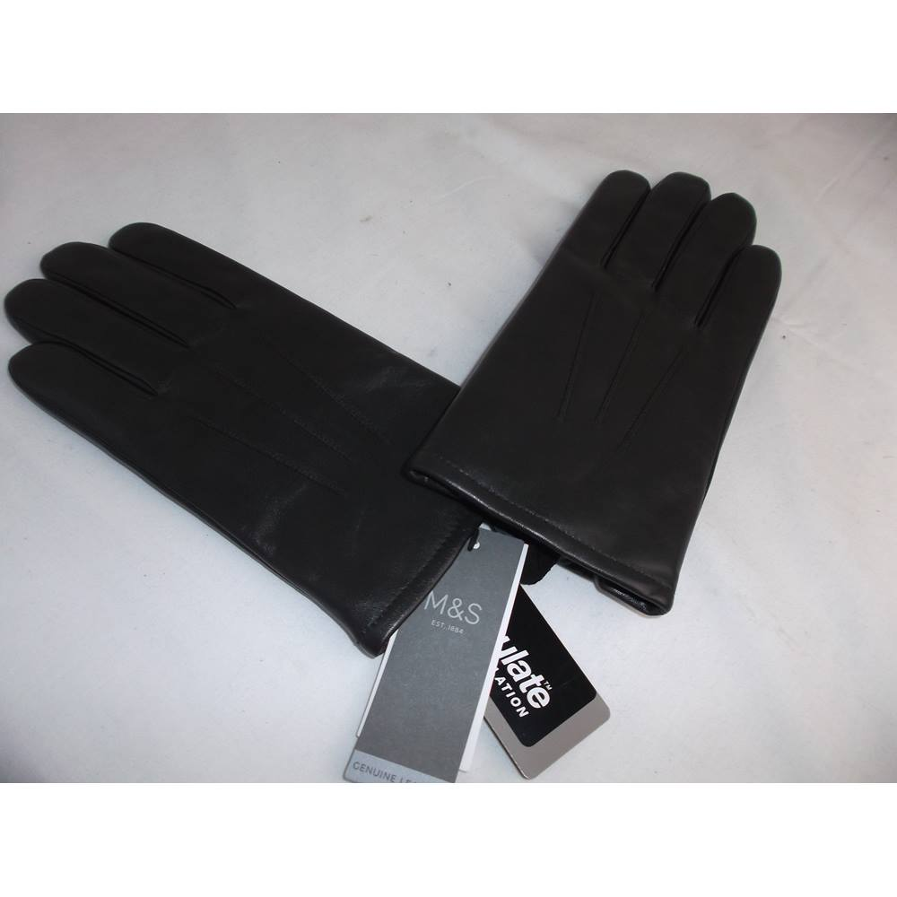 NEW MENS GENUINE LEATHER GLOVES THERMOWARMTH BROWN SIZE LARGE MARKS /& SPENCER