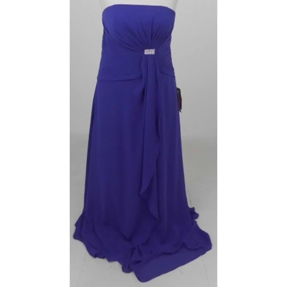 Preview of the first image of BNWT DIY Fashion Size L purple strapless evening dress.