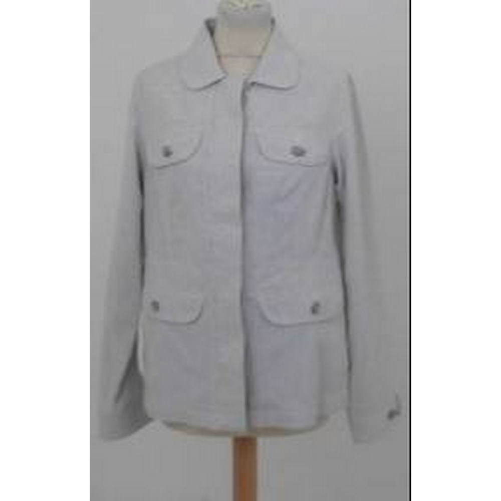 Preview of the first image of Rohan Pin-striped Utility Jacket Grey & Cream Size: S.