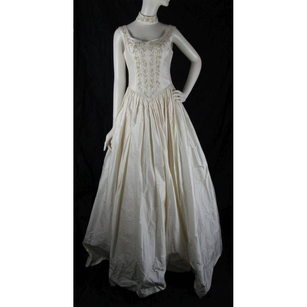 Preview of the first image of BNWT Hayley J-Size 10-Champagne-Ball Gown Wedding Dress With Choker Detail.
