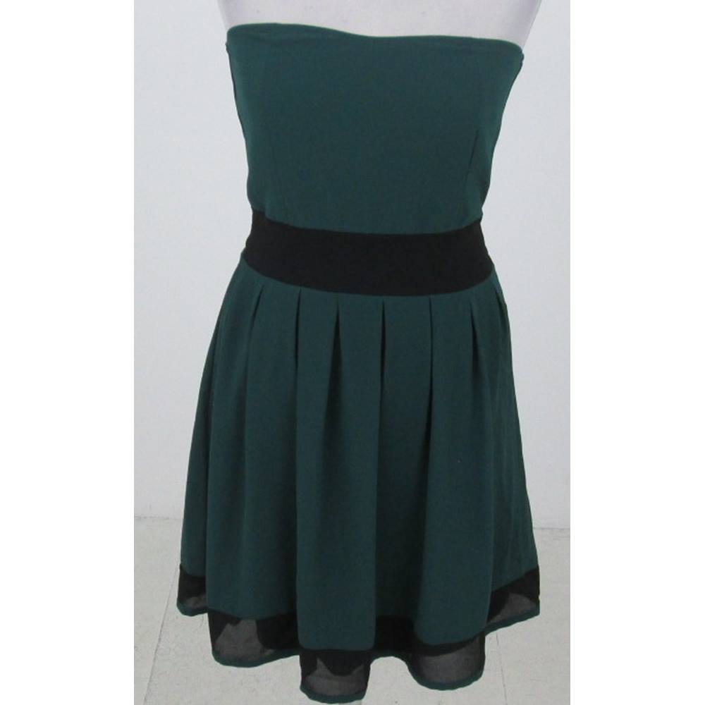 Preview of the first image of WalG Strapless Tie Waist Dress Green & Black Size: S.