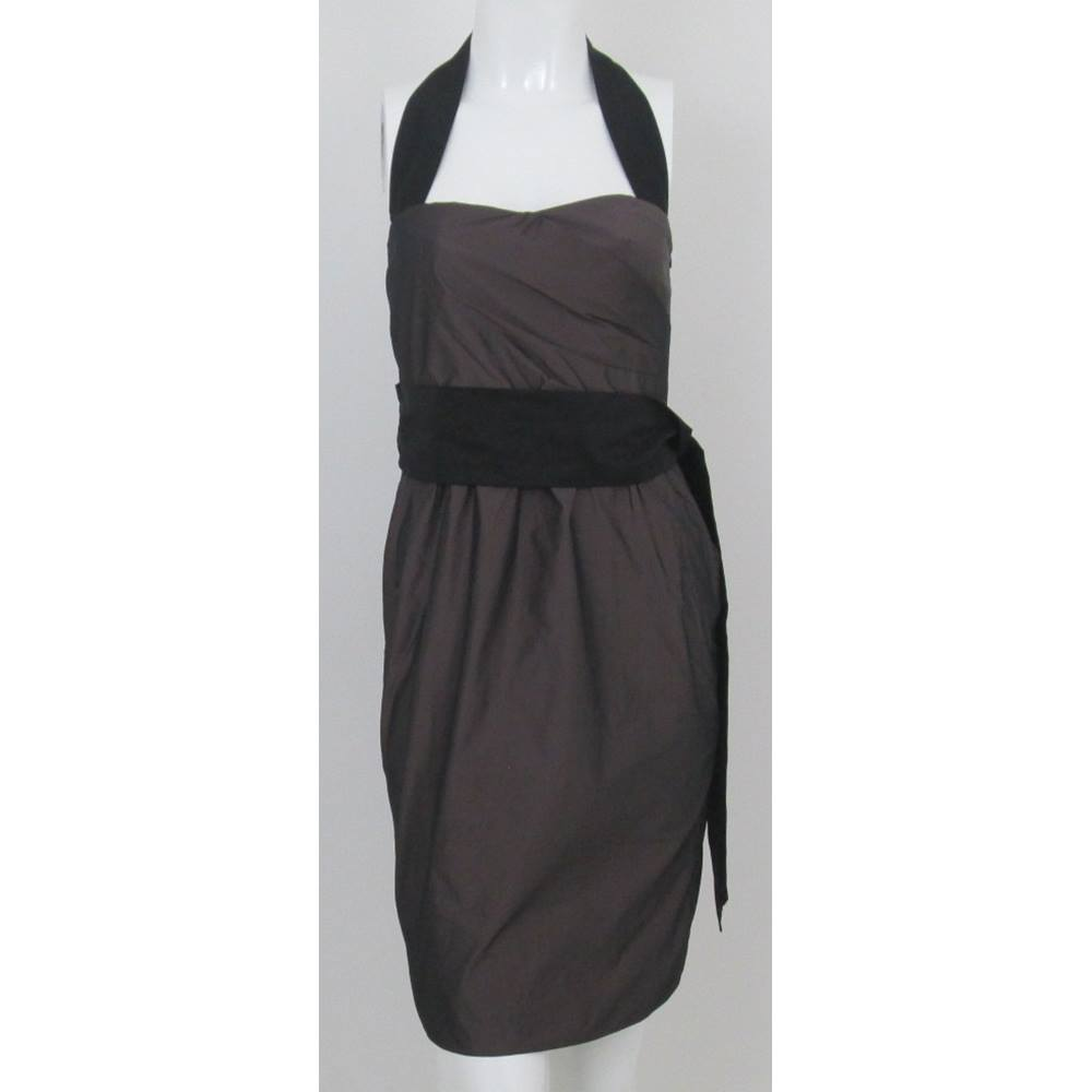 Preview of the first image of Zara Basic Sleeveless Halterneck Dress Brown and black Size: XS.