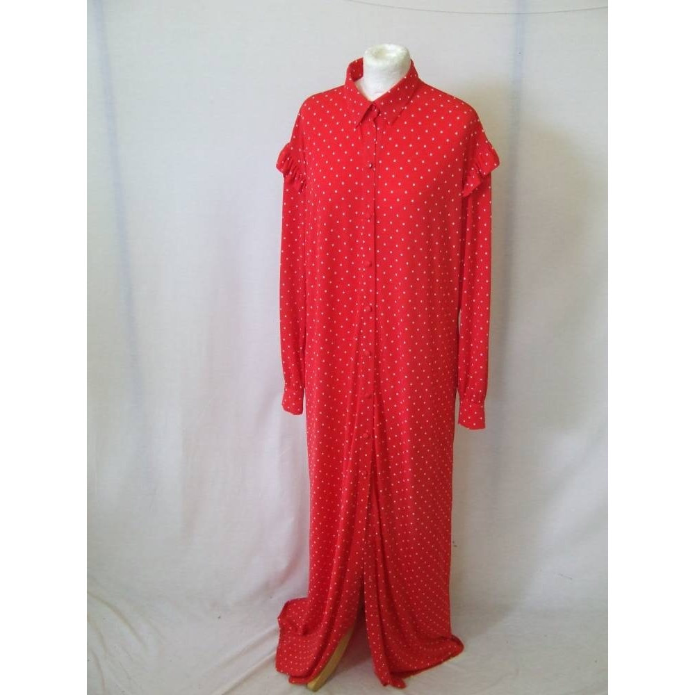 Preview of the first image of asos sample long maxi duster shirt dress buttons holiday  red polka dot Size: 10.