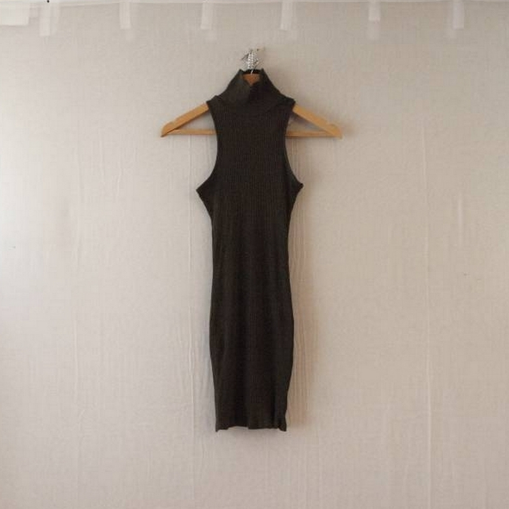Preview of the first image of Unbranded High Neck Rib Body Con Dress Khaki Size: XS.