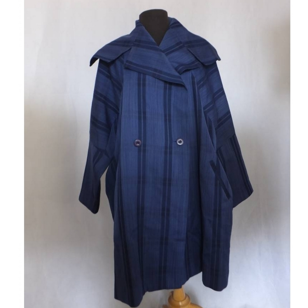 Preview of the first image of 1980s Issey Miyake Wool Coat Double Breasted  Blue Size: M.