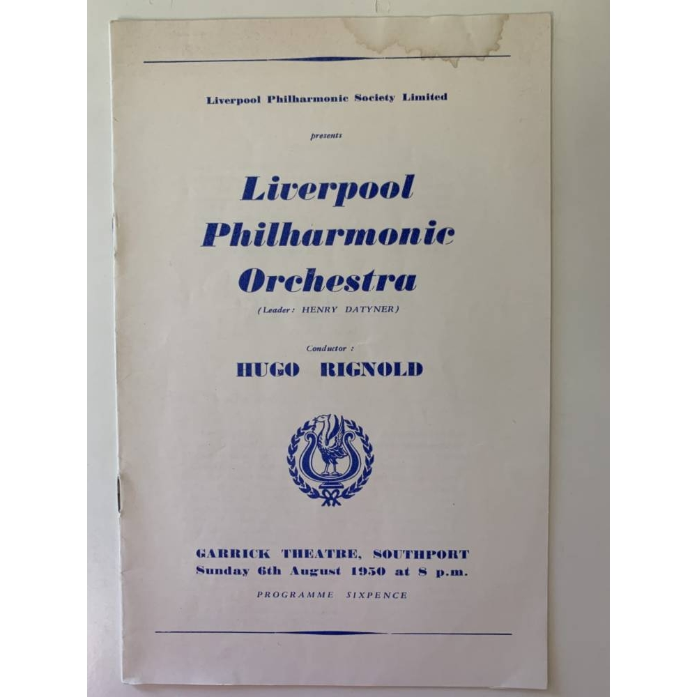 Preview of the first image of 5 Liverpool Philharmonic Programmes - 1947 - 1952.