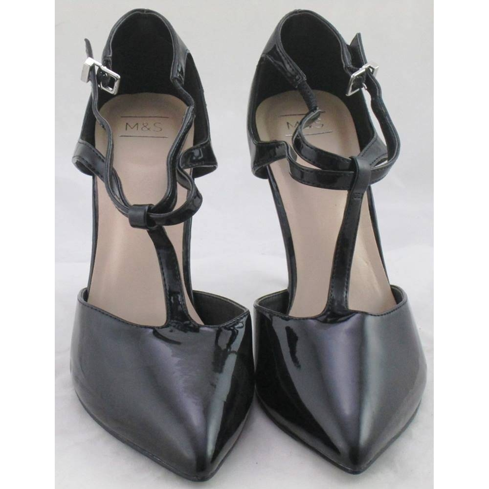 Preview of the first image of M&S T-Bar Strap Heels Black Size: 7.