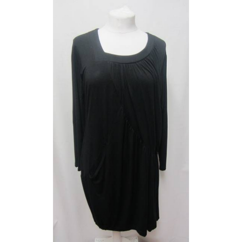 Preview of the first image of BNWT Nor Denmark Jersey Drape Dress Black Size: 16.