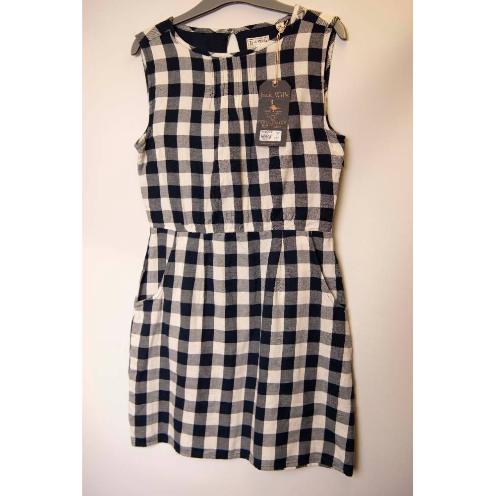Preview of the first image of Jack Wills Sleeveless Dress Navy and White Size: 10.