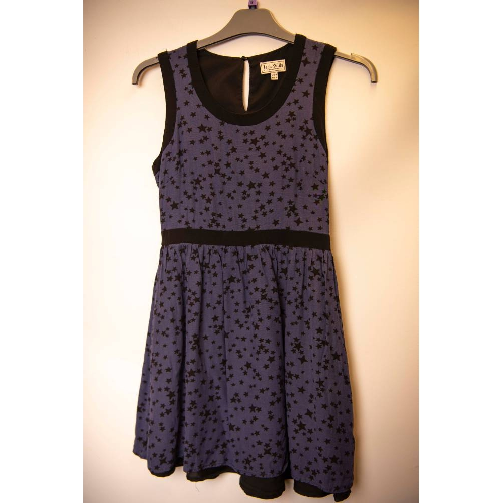 Preview of the first image of Jack Wills Sleeveless Dress Midnight Blue Size: 8.