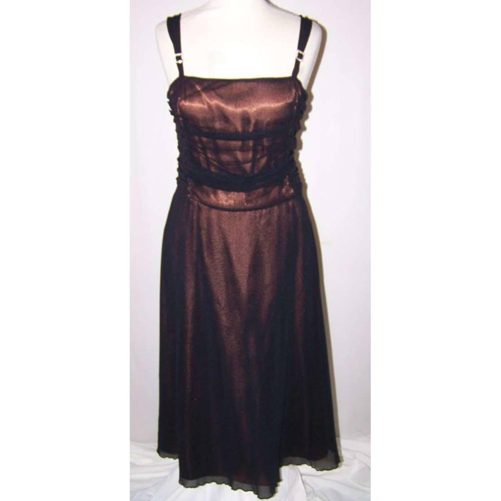 Preview of the first image of M&S Autograph Evening Dress Black/Bronze Size: 12.