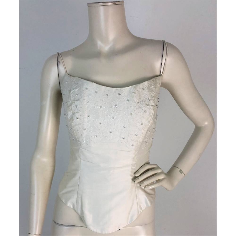 Preview of the first image of Val Koots Floral Applique Ivory Bridal Bodice Size 14.
