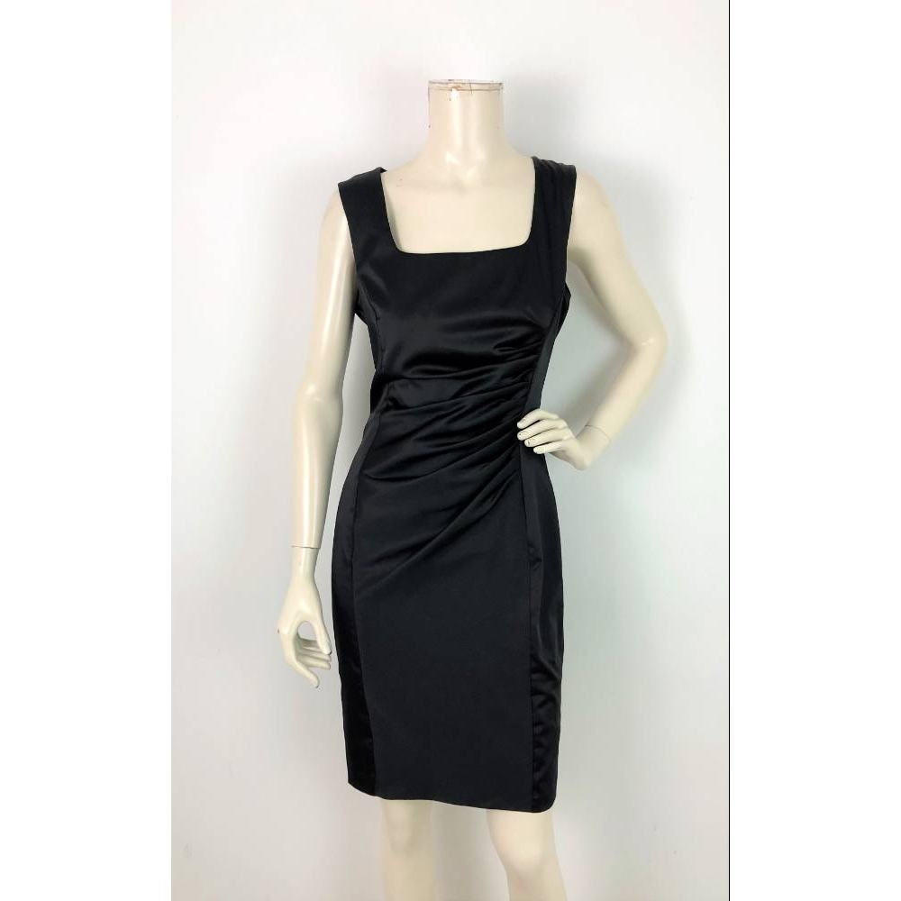 Preview of the first image of Next Satin Ruched Dress Black Size: 10.