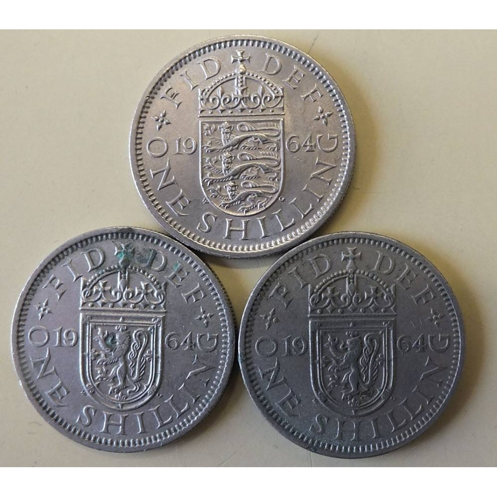 Preview of the first image of 3x 1964 shilling coins.