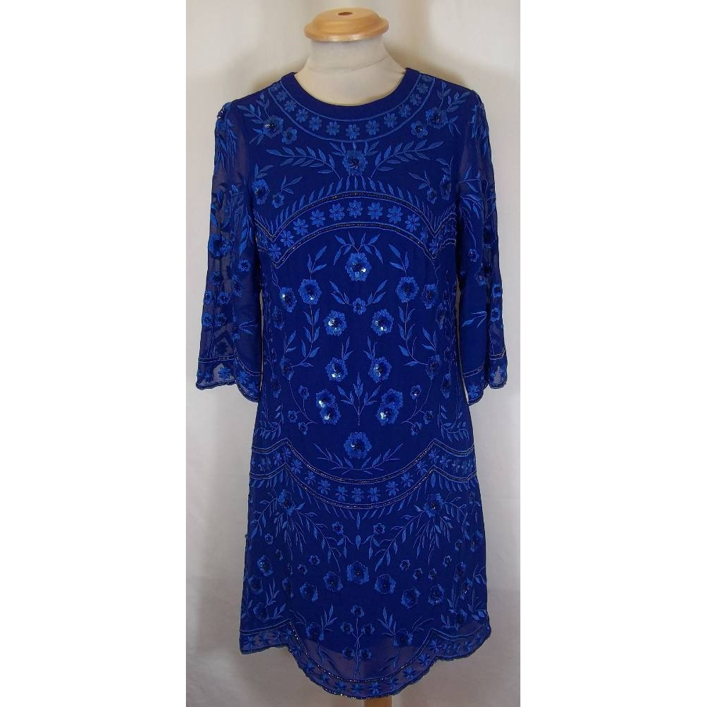 Preview of the first image of Monsoon dress blue Size: 8.