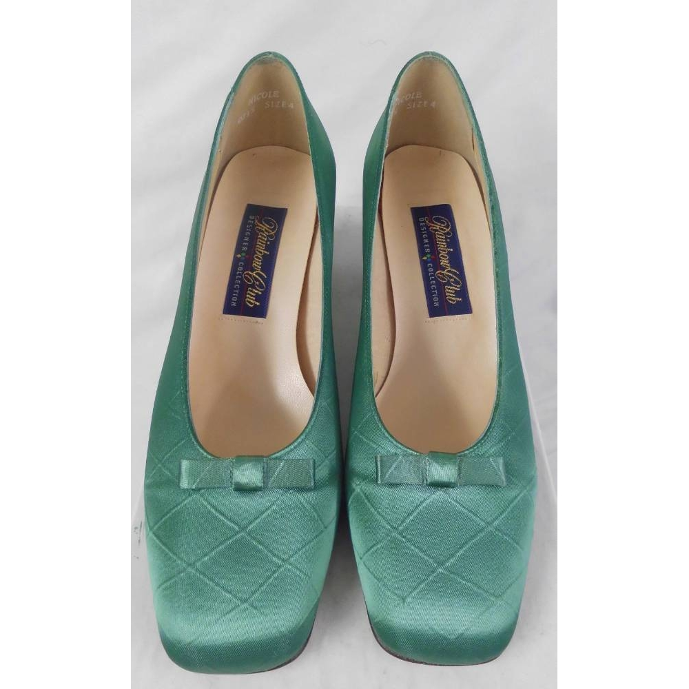Preview of the first image of Rainbow Club  Nicole Satin Court Shoes Jade Green Size: 4.