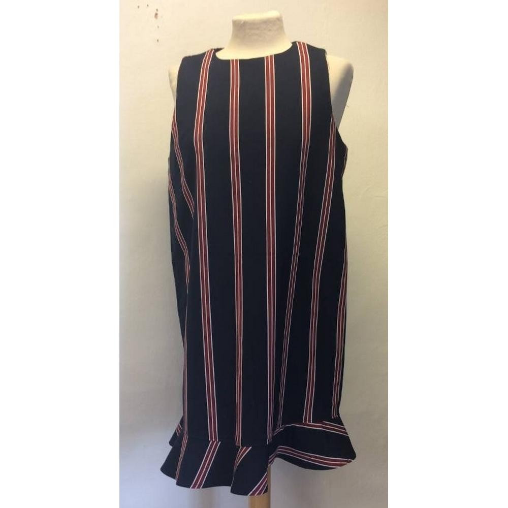 Preview of the first image of Zara Striped Dress Blue and Red Size: L.