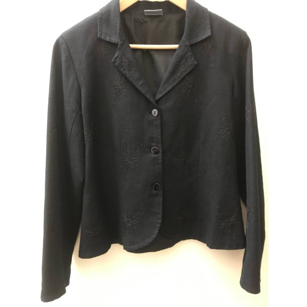 Preview of the first image of Phool Embriodered linen jacket Black Size: 14.