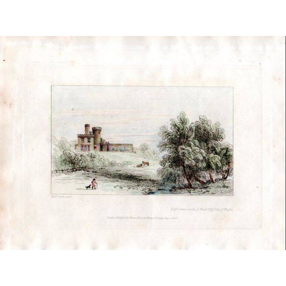 Preview of the first image of 1808 Antique Print of East Cowes Castle, Isle of Wight - original and hand-coloured.