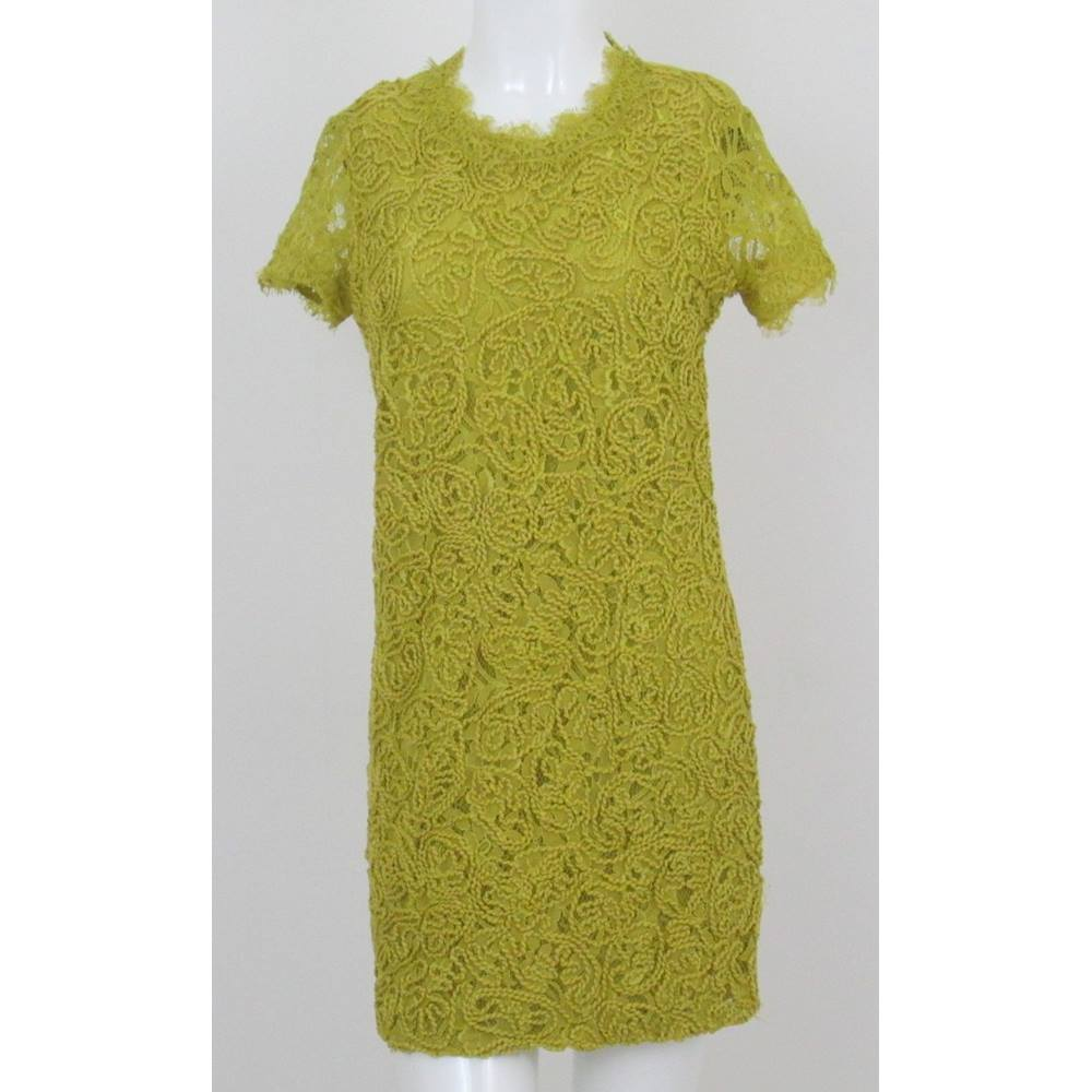 Preview of the first image of Zara floral embroidered dress mustard yellow Size: S.