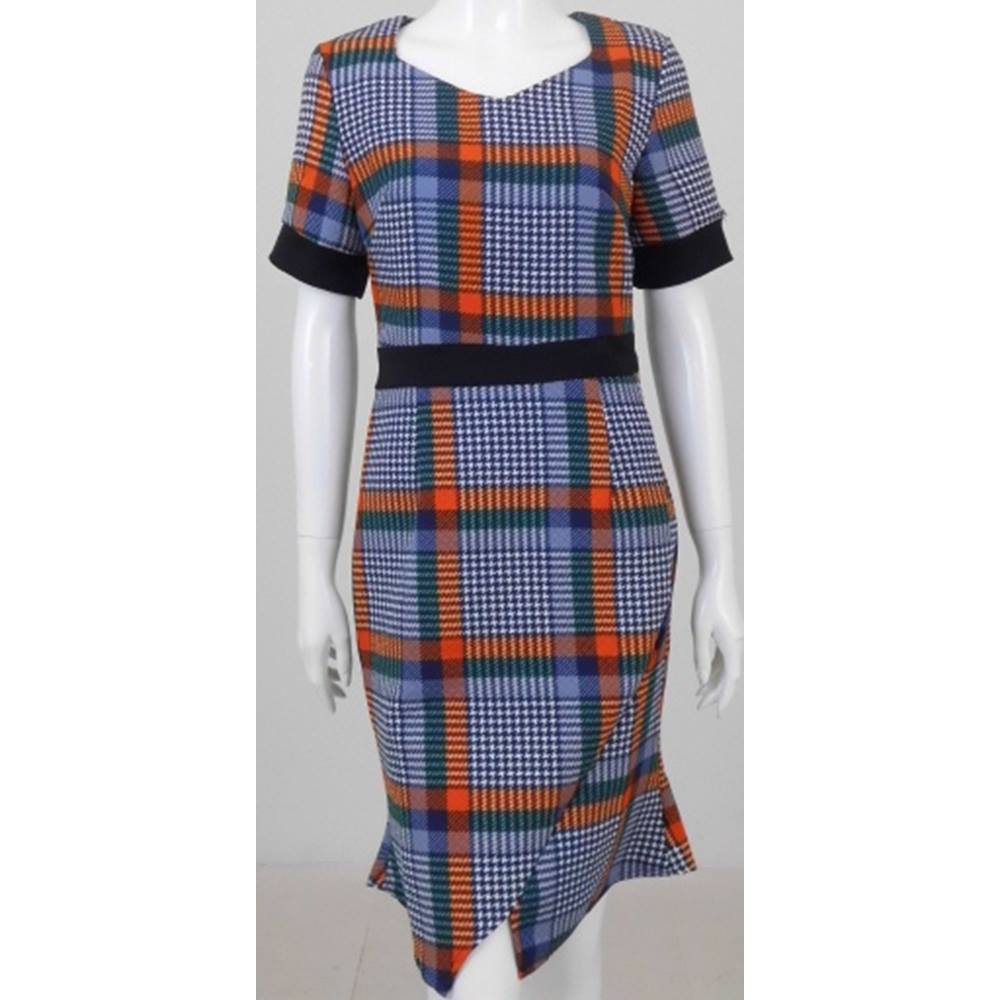 Preview of the first image of Collection hounds-tooth checked dress blue/orange mix Size: 10.