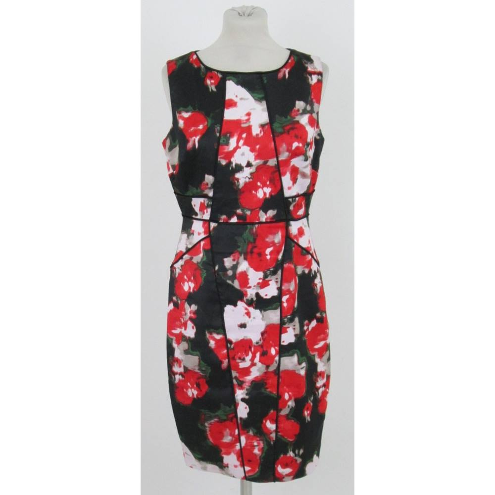 Preview of the first image of Jax Floral Dress Red & Black Mix Size: M.