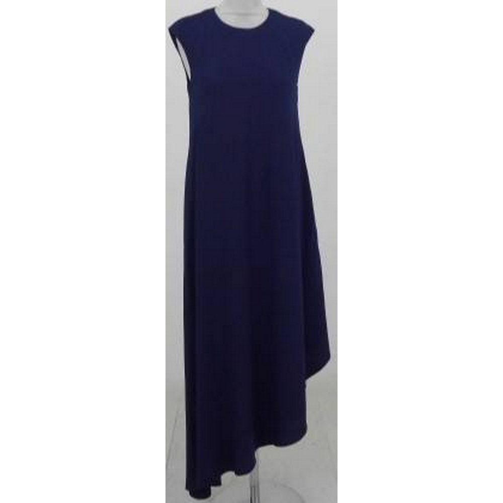 Preview of the first image of Ted Baker Asymmetric Hem Maxi Dress Navy Blue Size: 8.