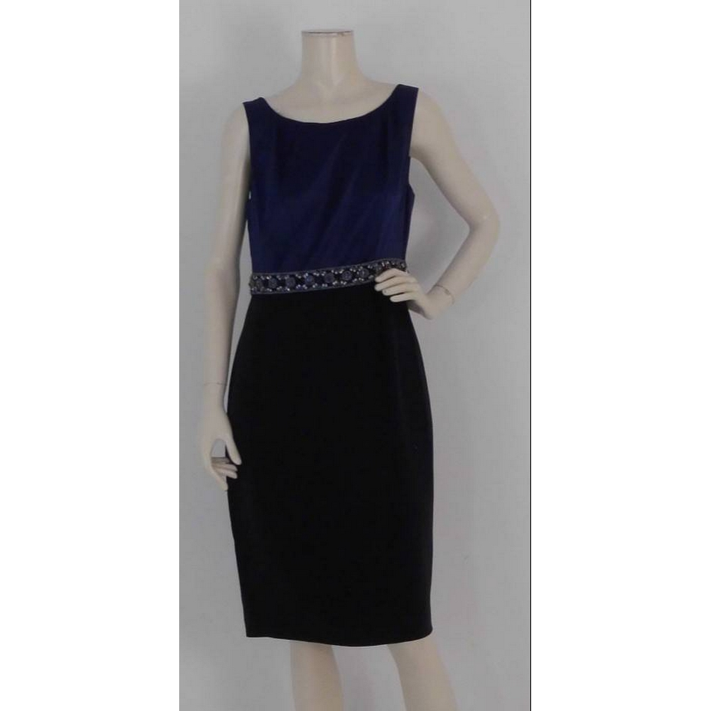 Preview of the first image of L K Bennett Silk/Cotton  Dress Navy/Black Size: 12.
