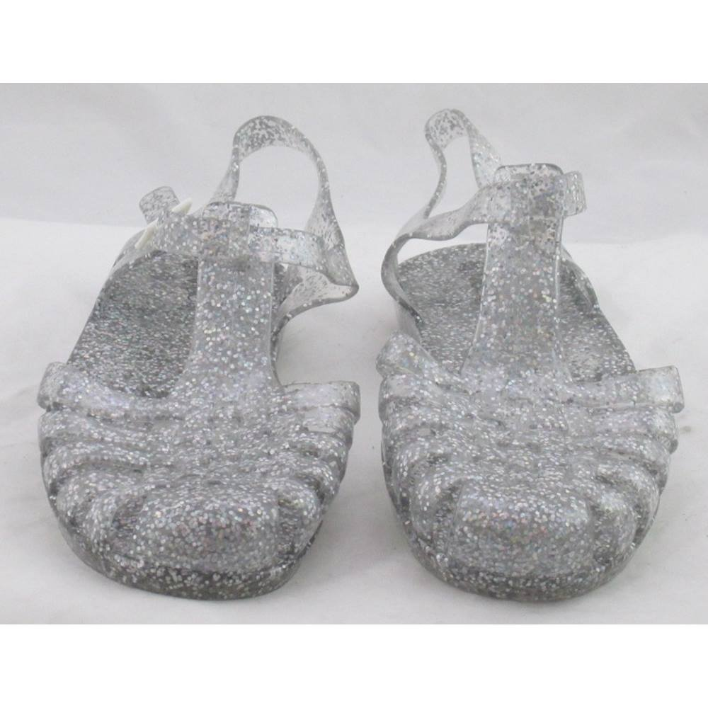 Image 1 of M&S Kids 2/34 glitter jelly shoes Silver Size: 2