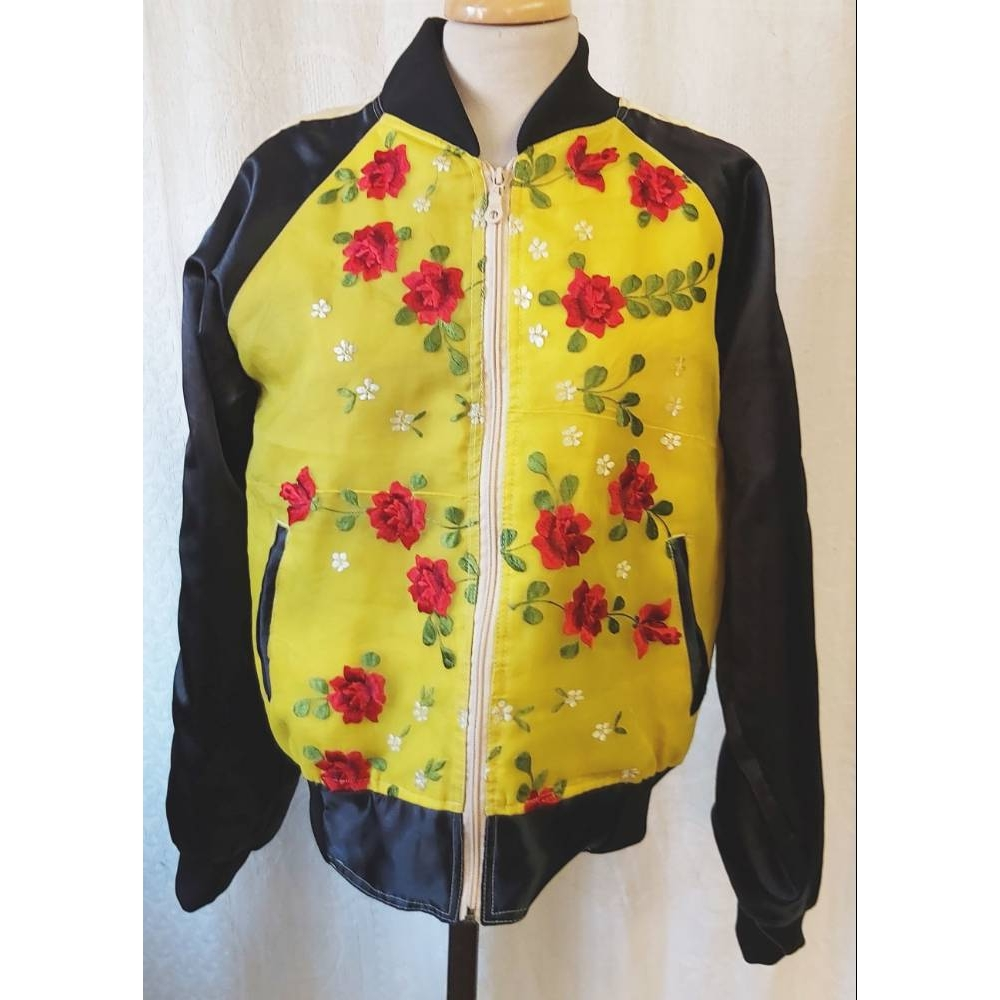 Preview of the first image of Nanan Bomber Jacket Yellow & Black Size: L.
