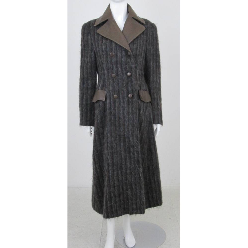 Preview of the first image of Koji Tatsuno Mohair & Leather Princess Coat Brown Mix  Size: 12.