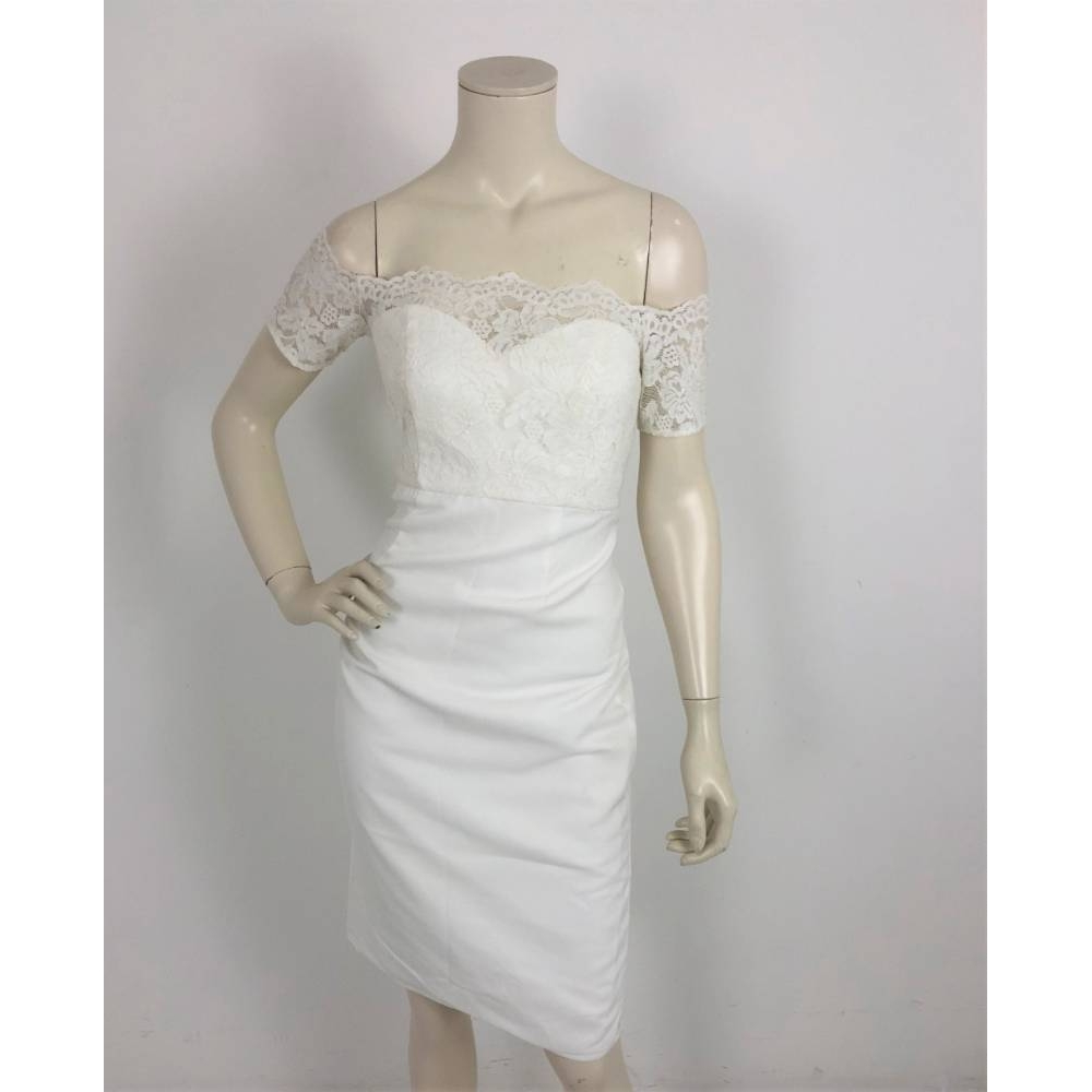 Preview of the first image of Chi Chi Maternity Bardot  Pencil Dress White Size: 8.