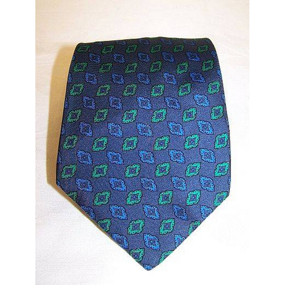 Preview of the first image of Cravats of London  Patterned Tie blue & green Size: One size.