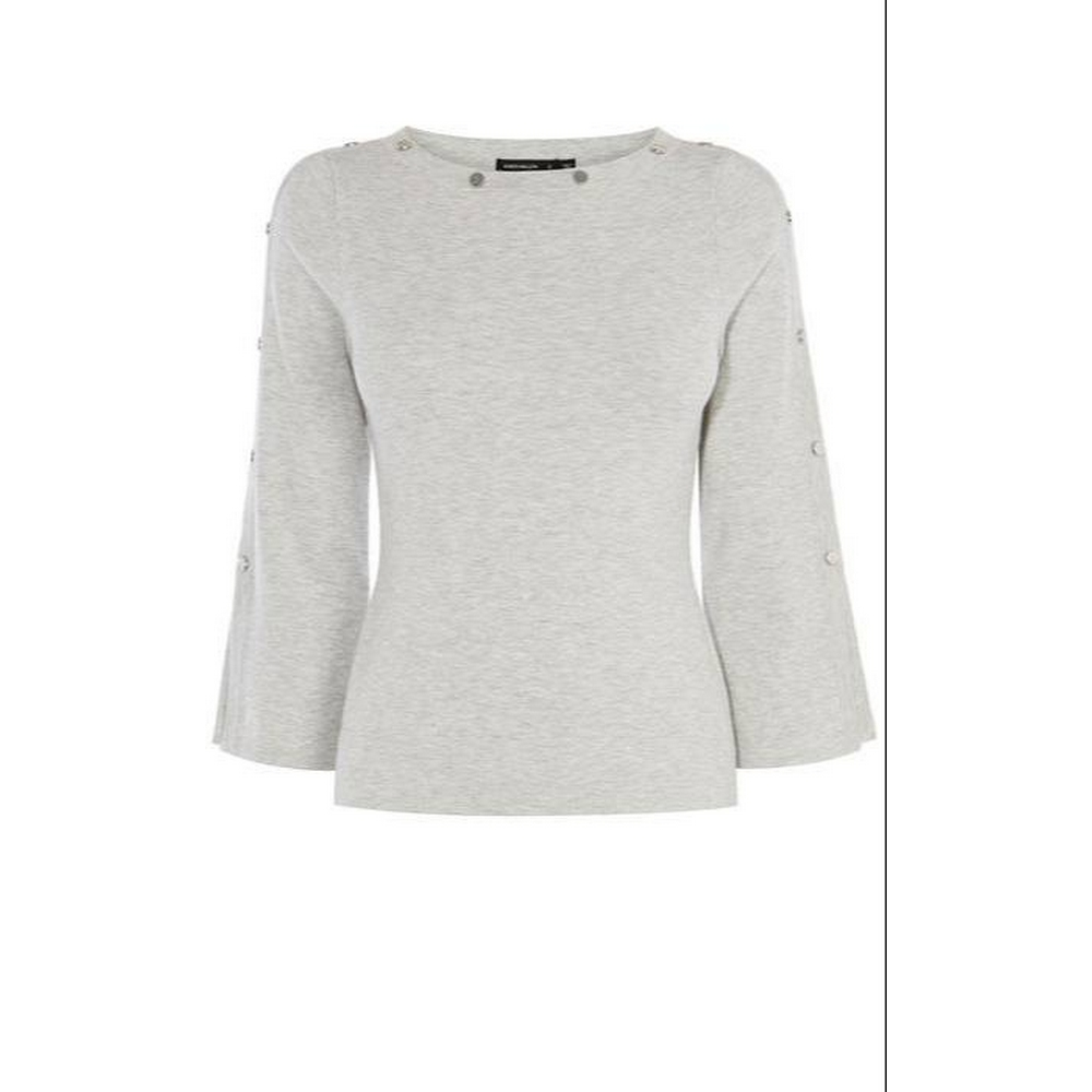 Preview of the first image of Karen Millen KA028 SILVER BUTTON Jumper Grey Size: S.