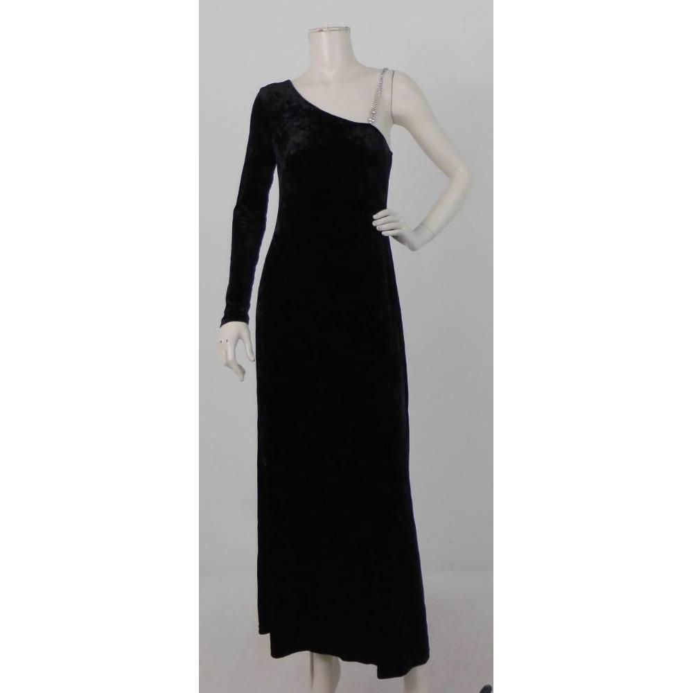 Preview of the first image of MaxMara Pianoforte Asymmetric Velvet Maxi Dress Black Size: 10.