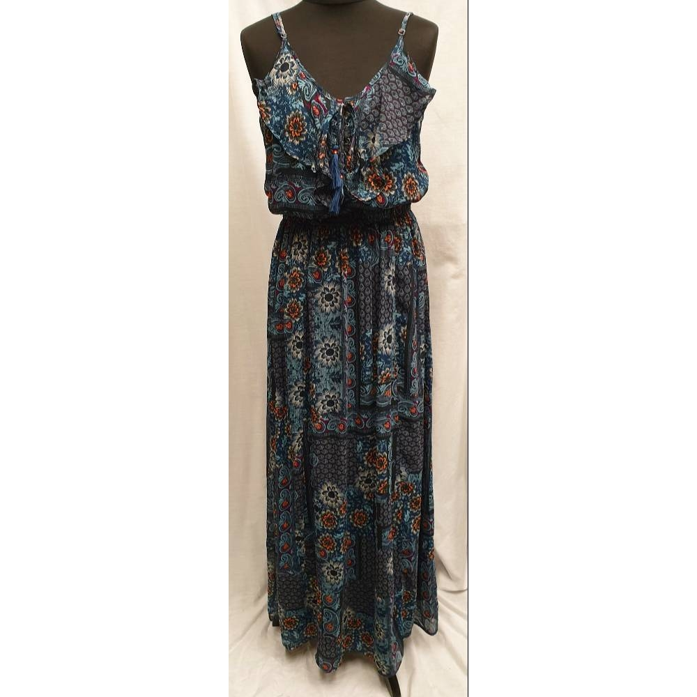 Preview of the first image of Jack Wills Floral Maxi Dress Navy  Size: L.