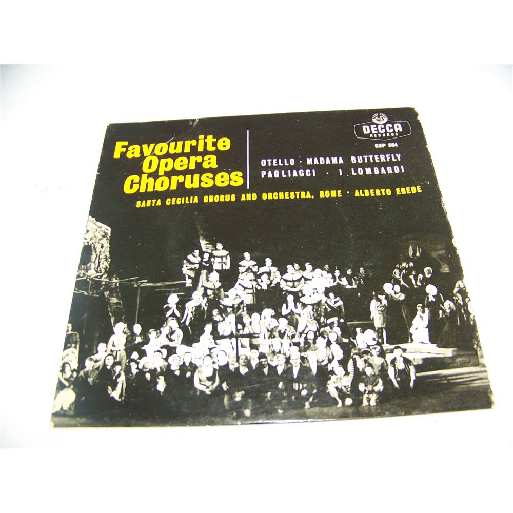 """Preview of the first image of Favourite Opera Choruses Santa Cecilia Chorus and Orchestra, Rome (7"""" EP single) - cep 564."""