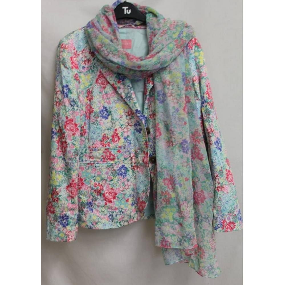 Preview of the first image of Fancy Joules Clothing - Scarf & Jacket Floral  Size: 12.