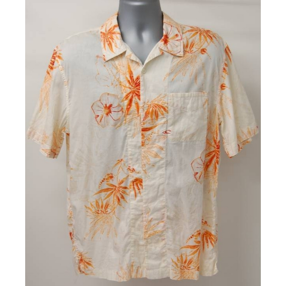 Preview of the first image of O Neill Hawain Short Sleeve Shirt beige/Orange Size: L.