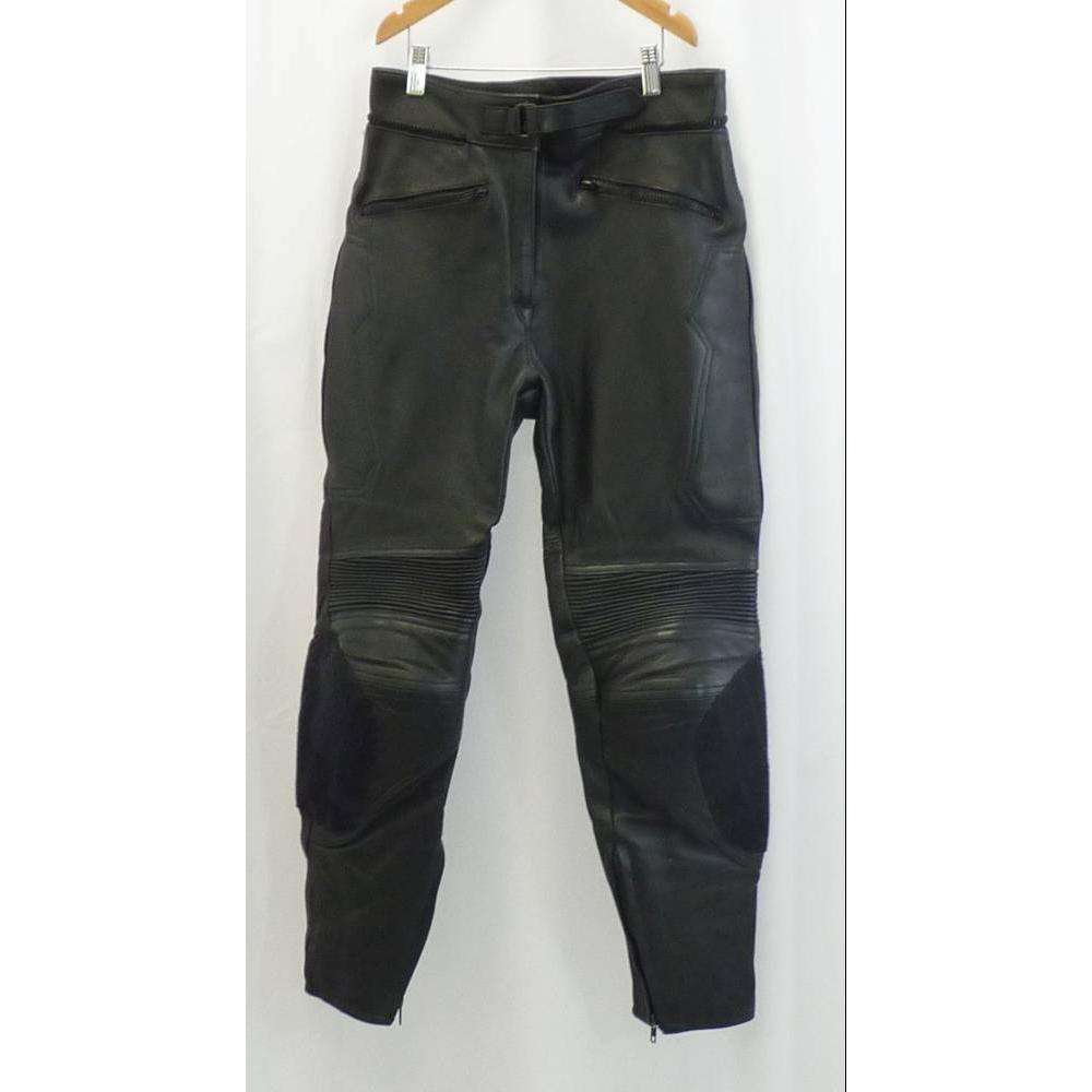 Preview of the first image of Dynamic Leather Cowhide Biker Trousers Black Size: S.