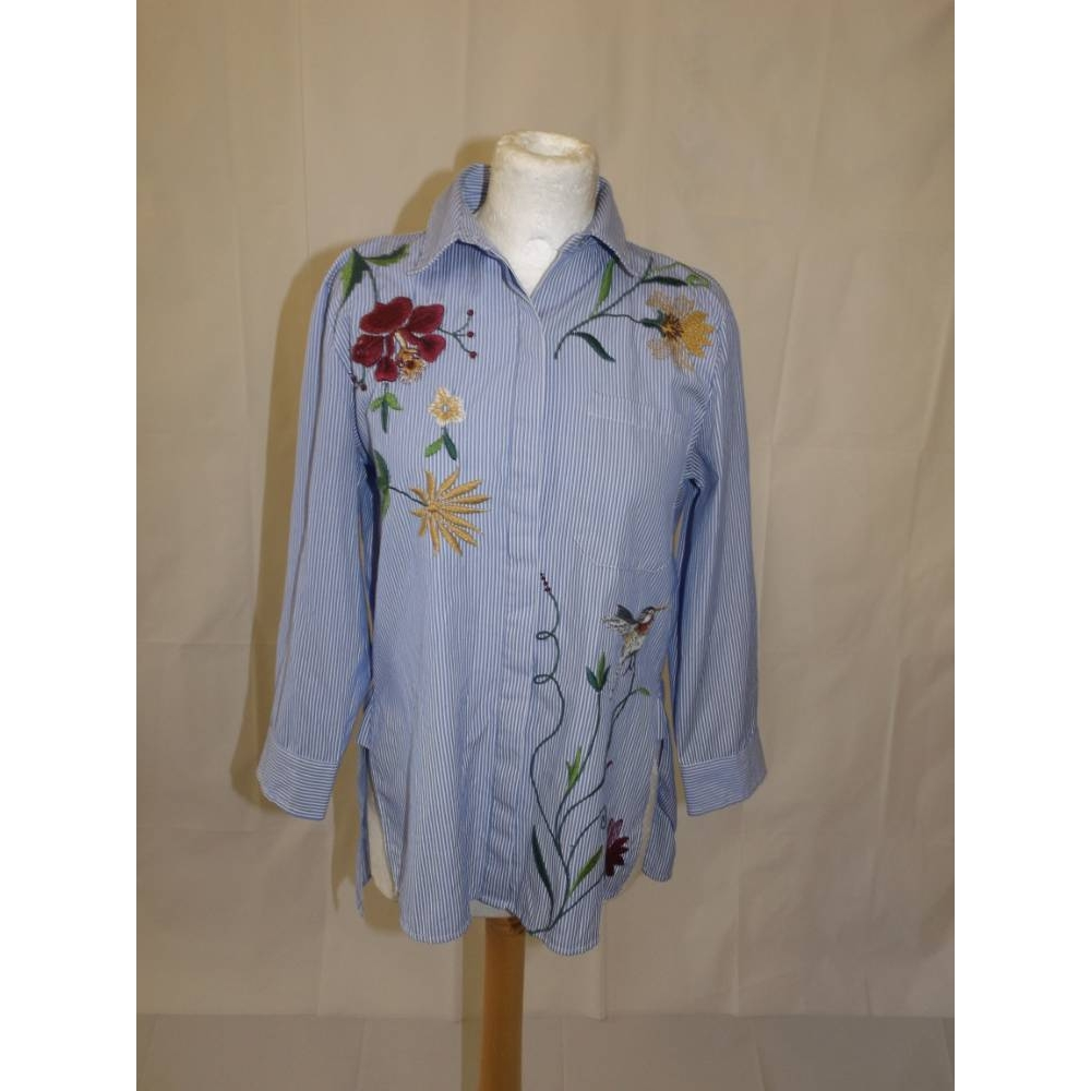 Preview of the first image of Zara striped poplin work shirt loose floral bird embroidered  blue white mult Size: S.
