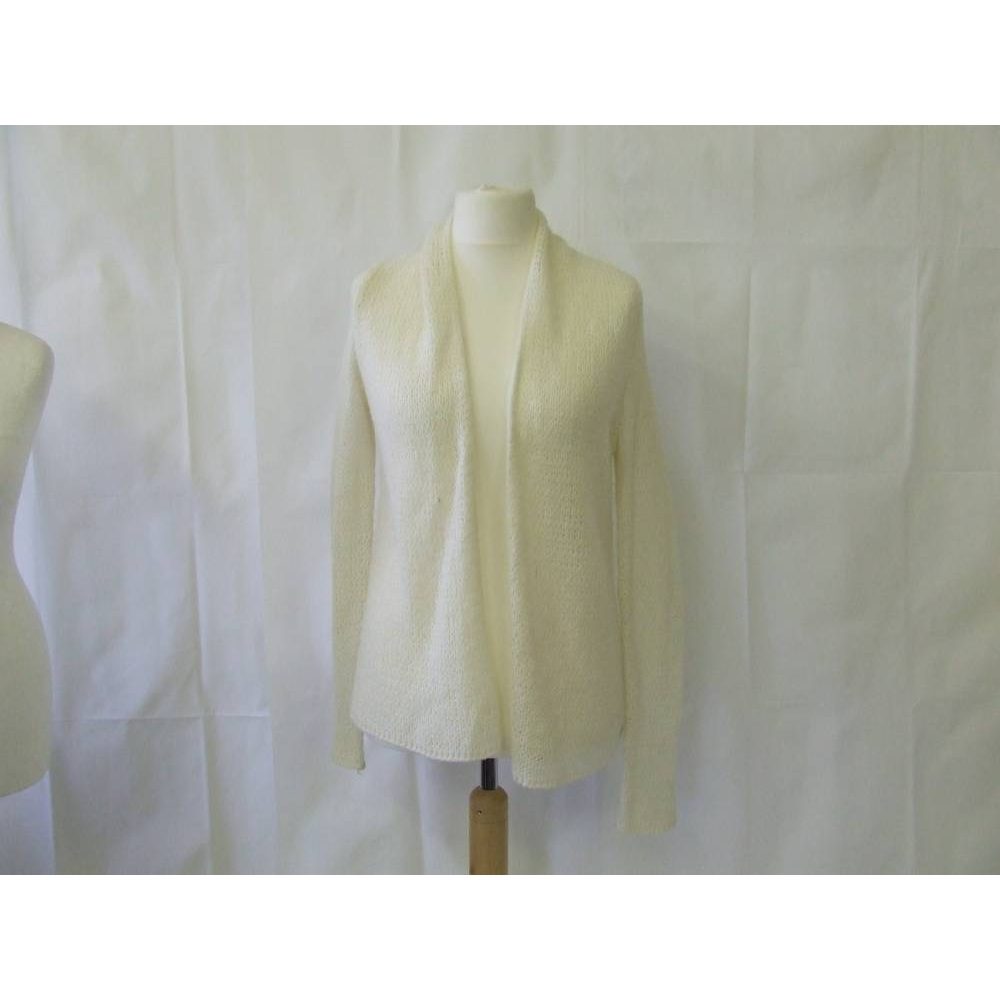 Preview of the first image of Hollister open waterfall loose knit crochet cardigan cream ivory Size: M.