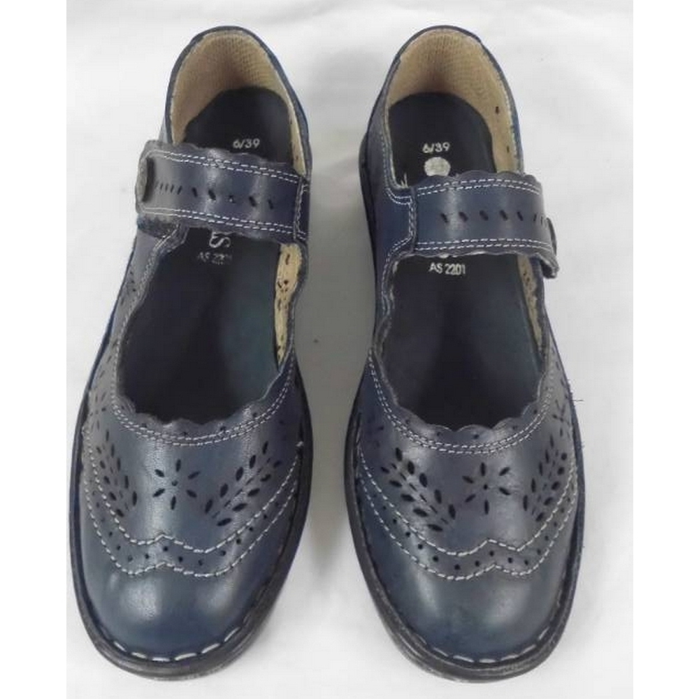 Preview of the first image of Pavers Touch Fasten Wedge Shoe Blue Size: 6.