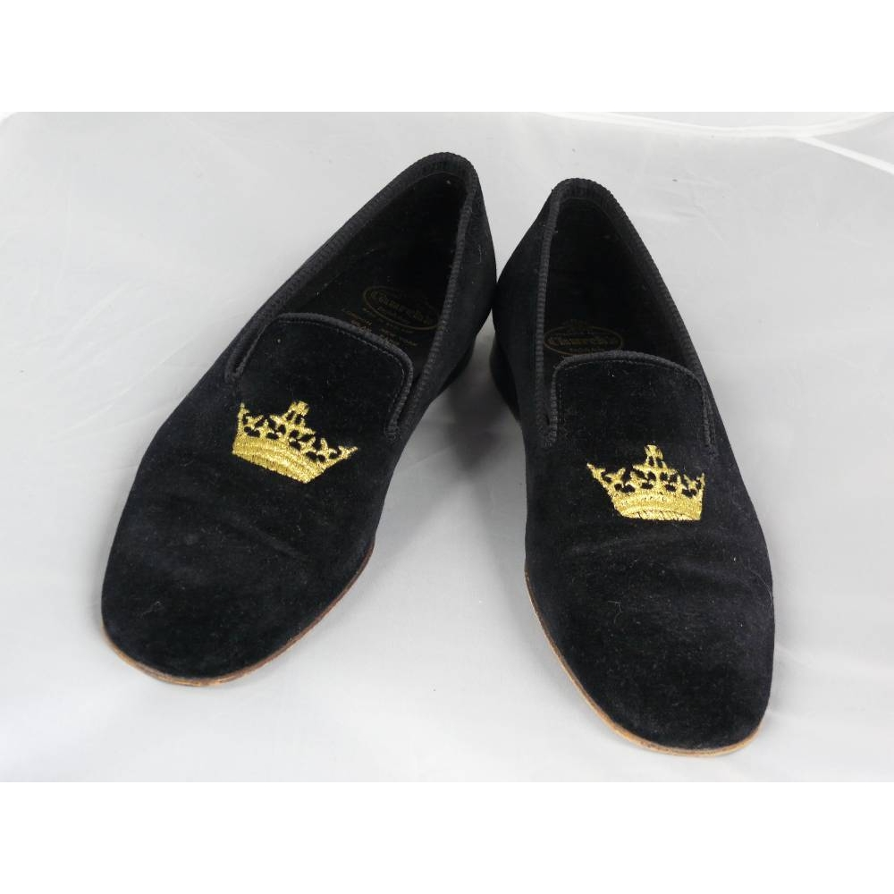 Preview of the first image of Churchs Sovereign Crown Velvet Loafers black Size: 7.